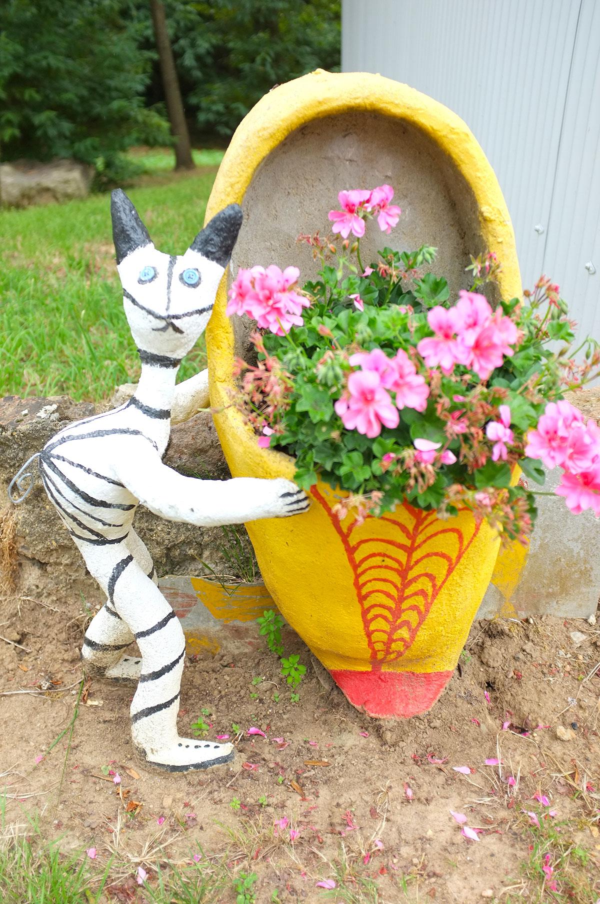 Chat sur ses deux pates à coté de son pot de fleur Nord Sarthe