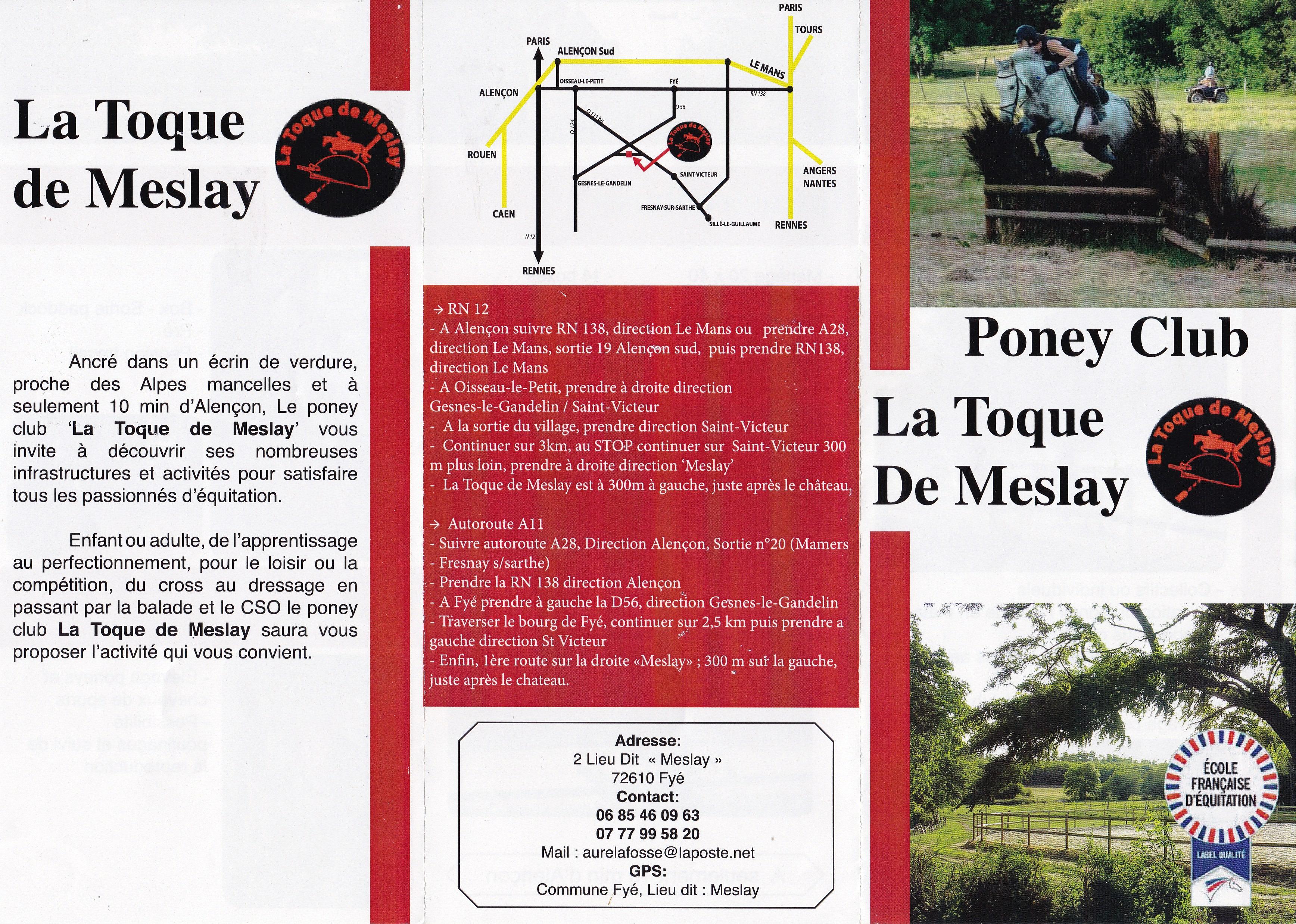 dépliant présentant le Poney club de la Toque de Meslay
